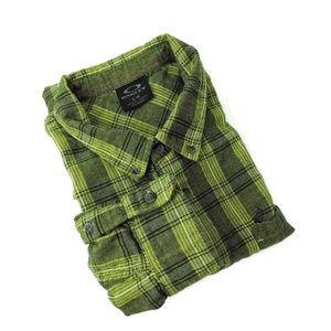 Oakley green plaid check men's shirt